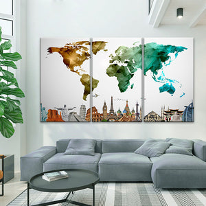Modern Abstract World Map Masterpiece Multi Panel Canvas Wall Art - World_map