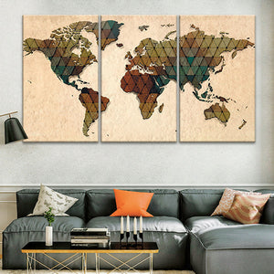 Triangulated World Map Multi Panel Canvas Wall Art