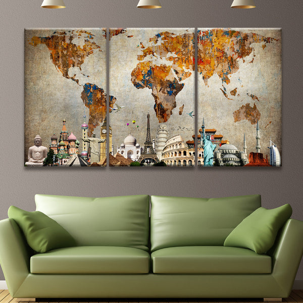 Colorful World Map Masterpiece Multi Panel Canvas Wall Art - Colorful world map painting