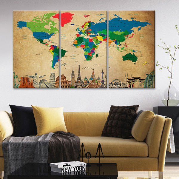 Society World Map Masterpiece Multi Panel Canvas Wall Art