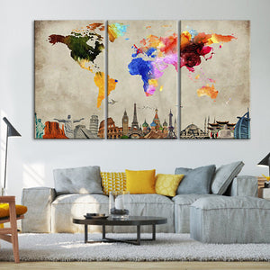 Water Colors World Map Masterpiece Multi Panel Canvas Wall Art