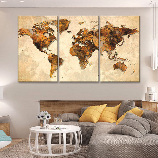 Rustic World Map Multi Panel Canvas Wall Art ElephantStock - World map canvas