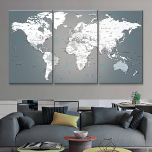 Push Pin World Map Multi Panel Canvas Wall Art - World_map