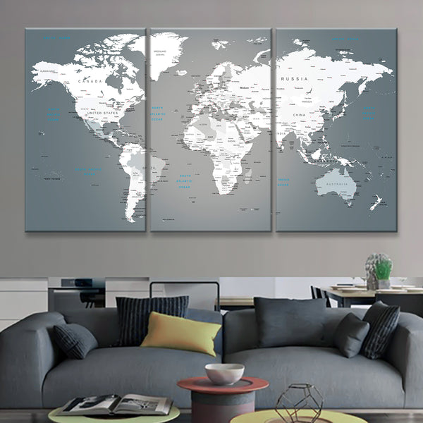Push pin world map multi panel canvas wall art elephantstock push pin world map multi panel canvas wall art gumiabroncs Images