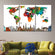 Motley World Map Masterpiece Multi Panel Canvas Wall Art