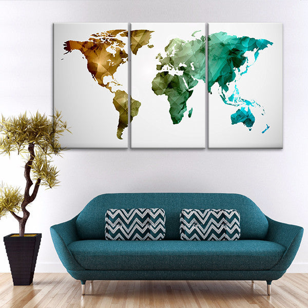 Modern Abstract World Map Multi Panel Canvas Wall Art