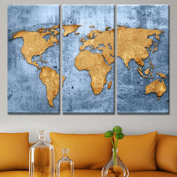 Azure World Map Multi Panel Canvas Wall Art ElephantStock - World map canvas