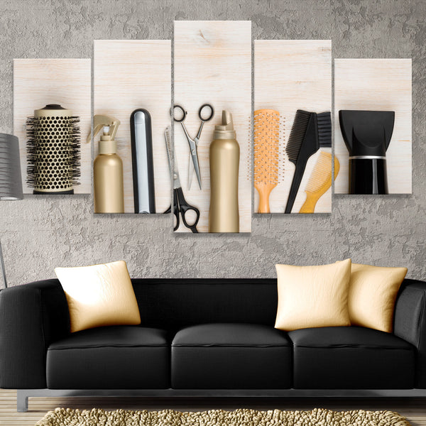 Hairdresser Tools Multi Panel Canvas Wall Art