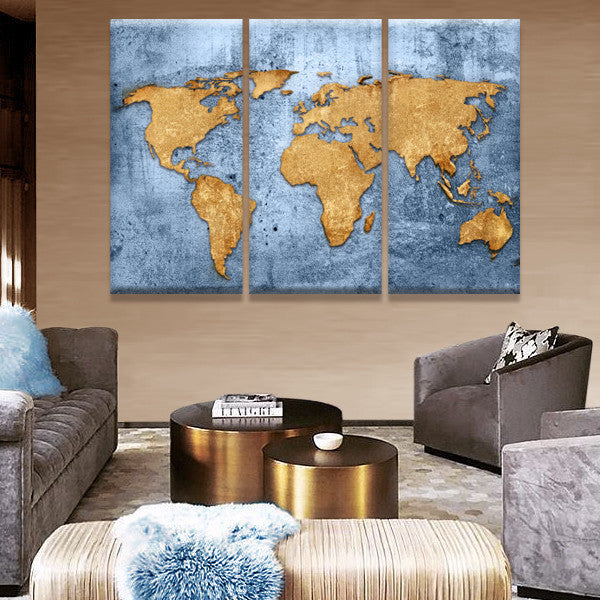 Azure World Map Multi Panel Canvas Wall Art