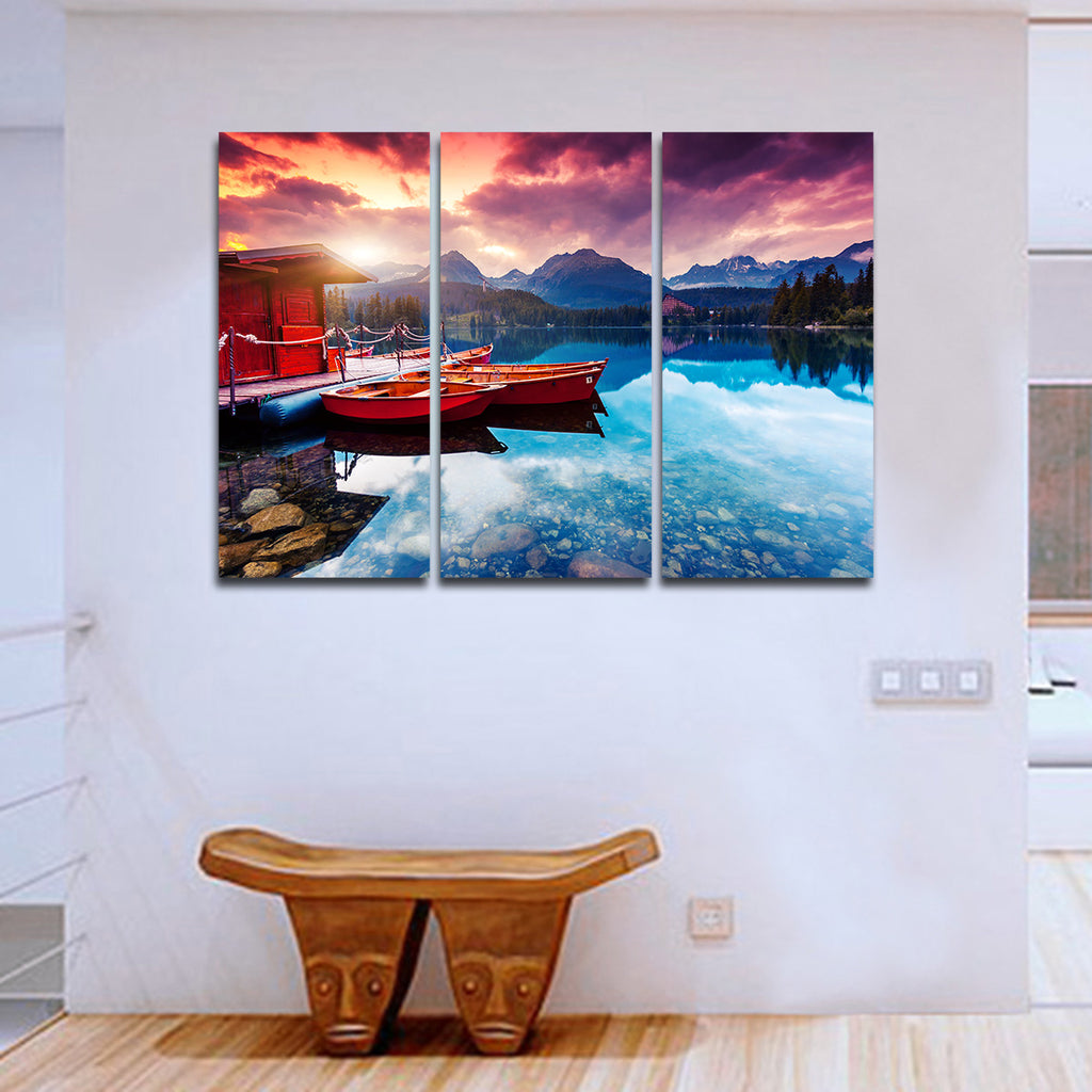 lake annecy multi panel canvas wall art elephantstock. Black Bedroom Furniture Sets. Home Design Ideas