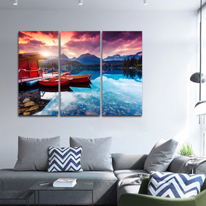 Lake Annecy Multi Panel Canvas Wall Art - Boat