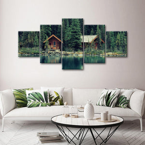 Lake House Multi Panel Canvas Wall Art - Nature