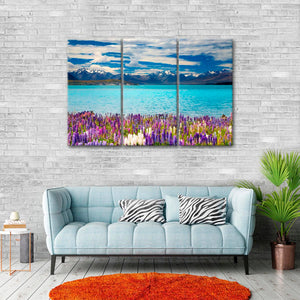Lake Tekapo Multi Panel Canvas Wall Art - Flower