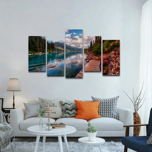 Lake Walkway Multi Panel Canvas Wall Art - Nature