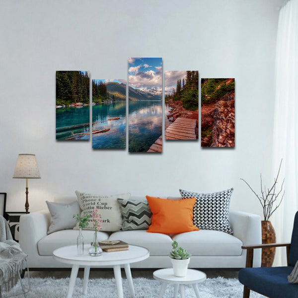 Lake Walkway Multi Panel Canvas Wall Art
