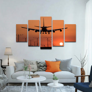Landing Sunset Multi Panel Canvas Wall Art - Airplane