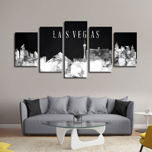 Las Vegas Watercolor Skyline BW Multi Panel Canvas Wall Art - City