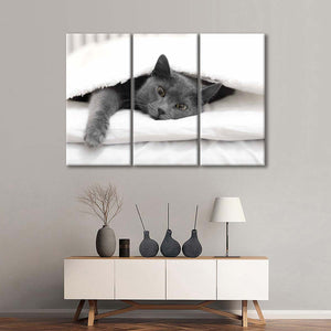 Lazy Cat Day Multi Panel Canvas Wall Art - Cat