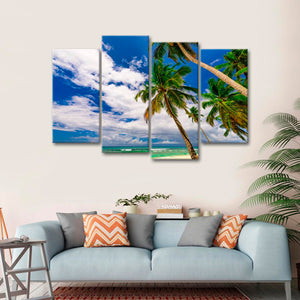 Leaning Coconut Trees Multi Panel Canvas Wall Art - Beach