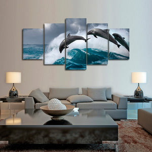 Leaping Dolphins Multi Panel Canvas Wall Art - Dolphin