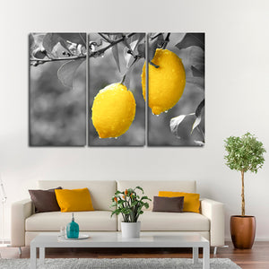 Lemons Pop Multi Panel Canvas Wall Art - Kitchen