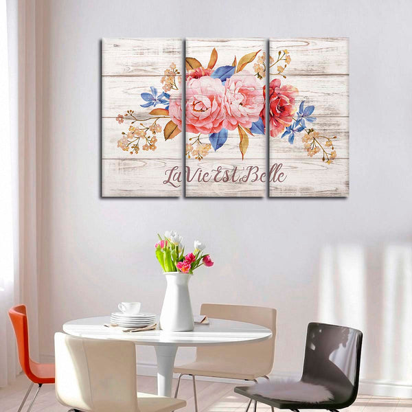 Life Is Beautiful Multi Panel Canvas Wall Art | ElephantStock