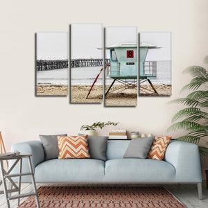 Lifeguard Stand Multi Panel Canvas Wall Art - Surfing