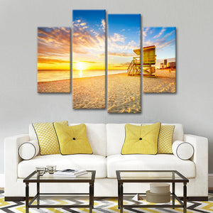 Lifeguard Tower Sunset Multi Panel Canvas Wall Art - Beach