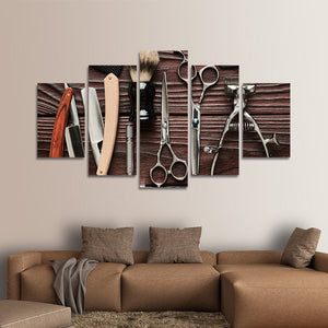 Lifestyle Barbershop Multi Panel Canvas Wall Art - Hair