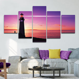 Lighthouse At Sunset Multi Panel Canvas Wall Art - Lighthouse