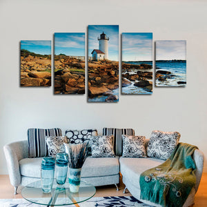 Lighthouse At The Rocks Multi Panel Canvas Wall Art - Lighthouse