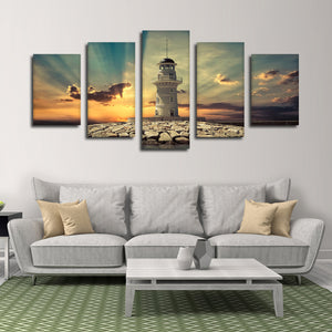 Lighthouse Island Multi Panel Canvas Wall Art - Lighthouse