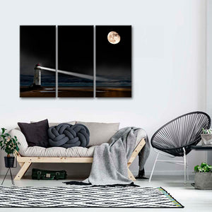 Lighthouse Under The Moon Multi Panel Canvas Wall Art - Lighthouse
