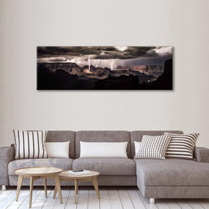 Lightning At Grand Canyon Multi Panel Canvas Wall Art - Nature