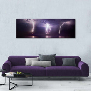 Lightning On A Purple Ocean Multi Panel Canvas Wall Art - Nature