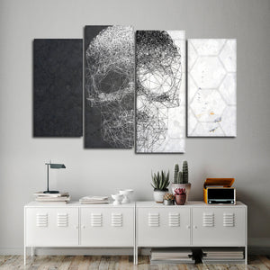 Linework Skull Multi Panel Canvas Wall Art - Skull