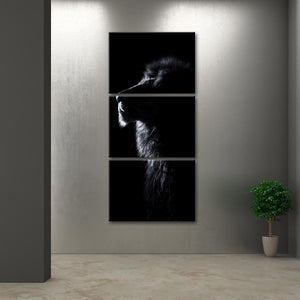Lion Contour Multi Panel Canvas Wall Art - Lion
