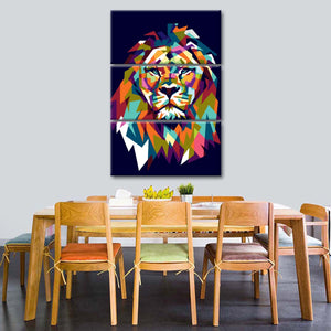 Lion's Head Mosaic Multi Panel Canvas Wall Art - Lion