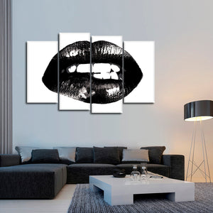 Lip Bite Multi Panel Canvas Wall Art - Makeup