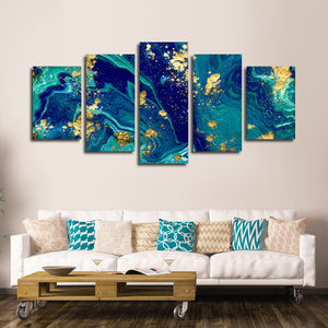 Liquid Marble Multi Panel Canvas Wall Art - Color