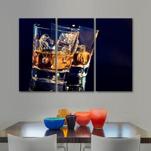 Liquid Sunshine Multi Panel Canvas Wall Art - Whiskey