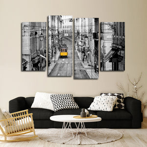 Lisbon Tram Pop Multi Panel Canvas Wall Art - City