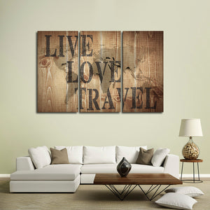 Live Love Travel Multi Panel Canvas Wall Art - World_map