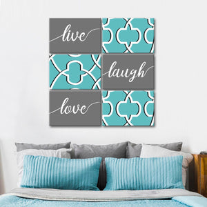 Live Laugh Love Words Canvas Set Wall Art - Inspiration