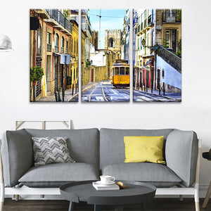 Streets Of Lisbon Multi Panel Canvas Wall Art - City