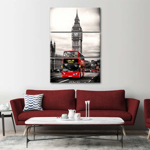 London Red Bus Multi Panel Canvas Wall Art - United_kingdom