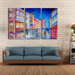 London In The Rain Multi Panel Canvas Wall Art - Abstract