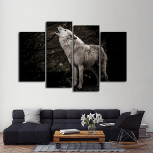 Lone Wolf Multi Panel Canvas Wall Art - Wolf
