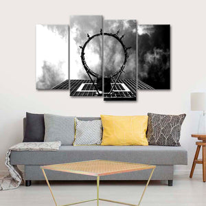 Looking Through The Hoop Multi Panel Canvas Wall Art - Basketball