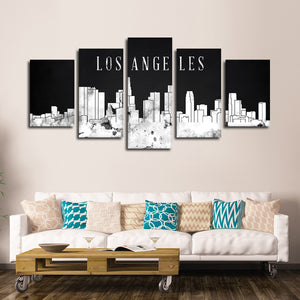 Los Angeles Watercolor Skyline BW Multi Panel Canvas Wall Art - City